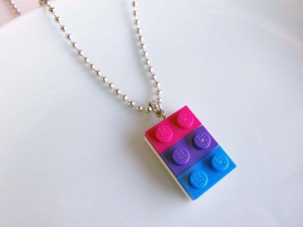 画像1: レゴブロックネックレス(バイセクシュアルカラー) (1)